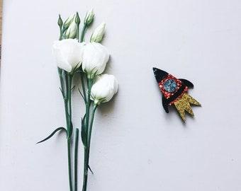 Tango the space rocket - handmade brooch