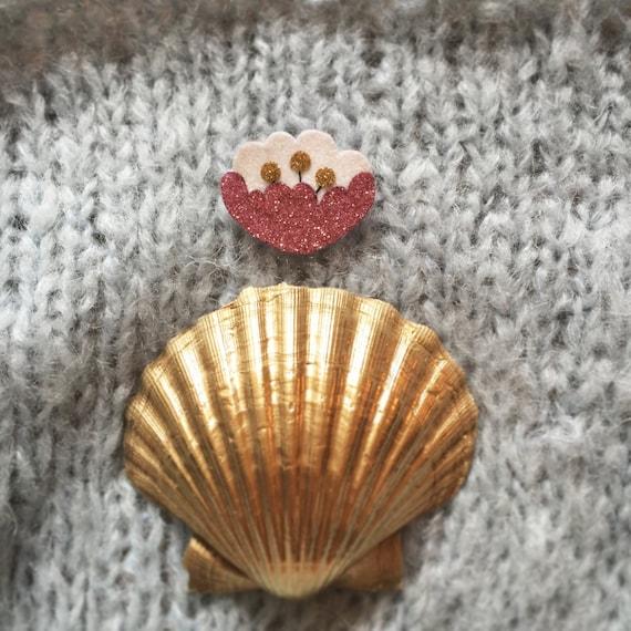 Eulalie - Peony - Peony - Handmade - brooch - soft Cactus