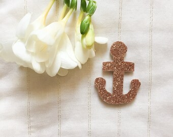 Anchor Navy - pink gold - Hand Made - the Rochelle brooch