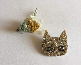 Romy sequined cat brooch handmade with love in La Rochelle