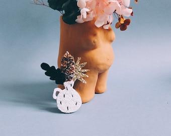 Solly the vase - handmade brooch