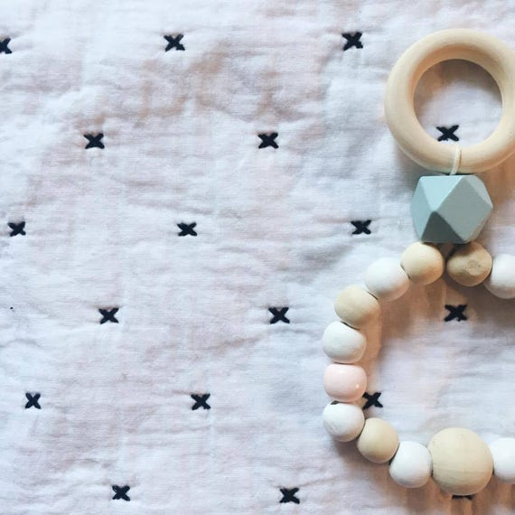 Rattle teething ring - made hand - soft Cactus