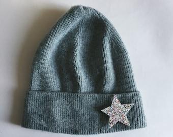 Brooch star glitter Aria made handmade in La Rochelle