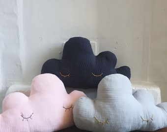 Marius the cloud - Double gauze - Cushion - Handmade - Cactus - the Rochelle tender Sweet pillow