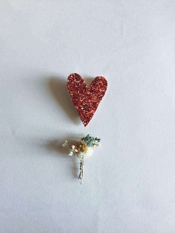 Small heart - Sweet Heart - brooch - Handmade - soft Cactus
