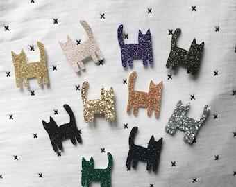 Huguette - cat - kitten - Cat - pin - Brooch - Handmade - La Rochelle - soft Cactus