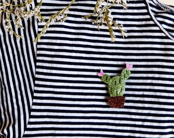PIN Cactus pot - green and Red - tender Cactus - Handmade - La Rochelle