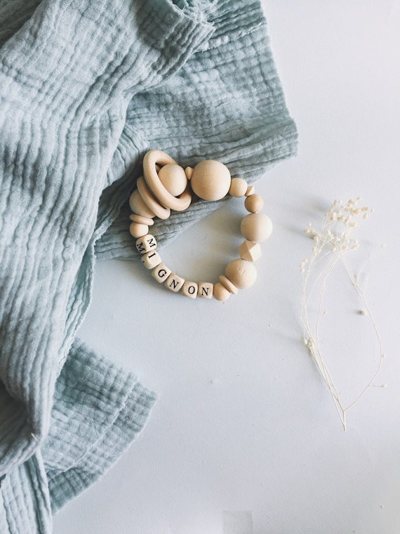 Natural customizable rattle and handmade baby wooden tooth ring with Love in La Rochelle