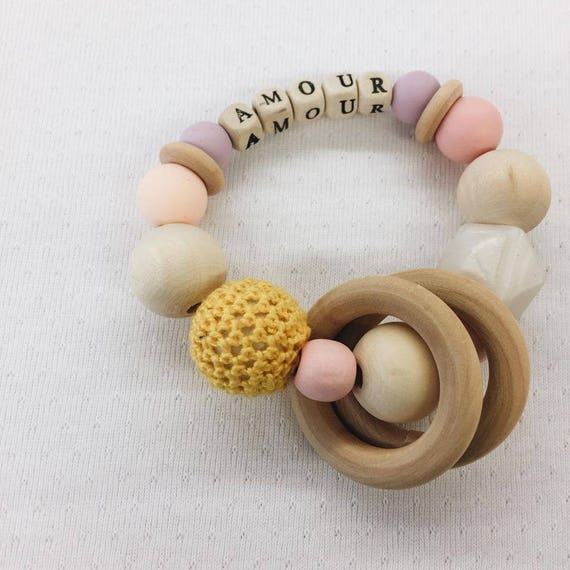 Customizable rattle and wooden and silicone dentition ring for handmade baby with Love in La Rochelle birth gift