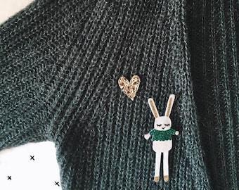 Rabbit brooch glitter handmade in La Rochelle