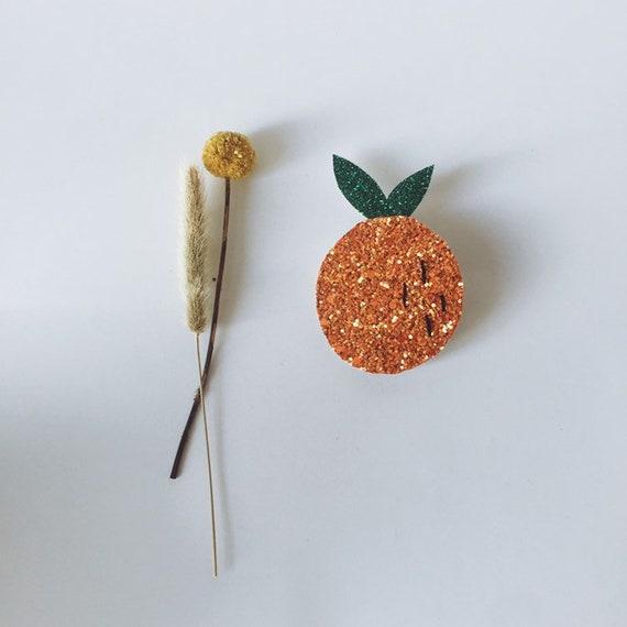 Myra the orange - handmade brooch