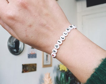 The Customizable Sweet Words Bracelet in Pretty Pearls Tender Letters Cactus Made Main in La Rochelle