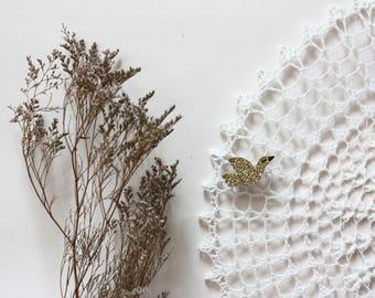 Bird gold glitter soft Cactus brooch handmade with love in la Rochelle