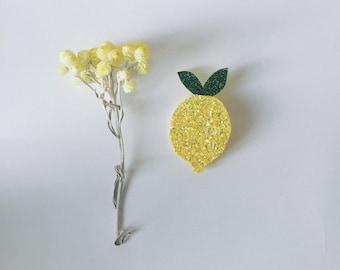 Cyrius the lemon - handmade brooch
