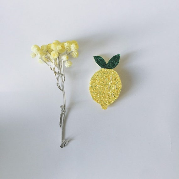 Brooch lemon glitter soft Cactus made with love in La Rochelle