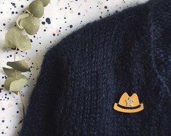 Wayne the cowboy hat - handmade brooch