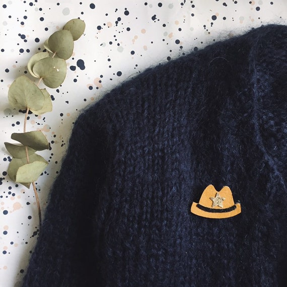 Wayne the cowboy hat - handmade brooch