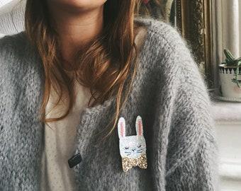 Glitter rabbit brooch handmade with love in La Rochelle