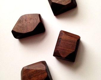 Walnut Wooden Magnets - Wood Magnets - Wooden Gift - Kitchen Magnets - Office Magnets - Husband Gift - Wooden Fridge Magnets - Set of 4