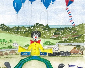 Clown, Balloons and Kite