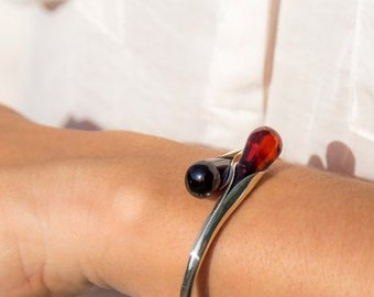 Exclusive Handmade Baltic Amber and Sterling Silver Bracelet 100/% Natural Amber Bangles Women Amber Silver Perfect Gift Cherry Fashionable