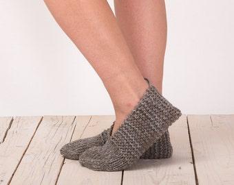 Handmade Wool Slippers - Handknit Slipper Socks - Natural Gray - Women wool slippers -  Comfy house Shoes - Indoor Socks - Knitted Gift