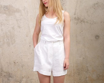f3485cb8a80 Womens Linen Shorts - Linen Summer Beach Shorts White - Light Summer Shorts  - Loose Fit Plus Size Skorts - Plus Size Linen - Linen Clothes