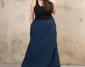 4eae7f0b08 Pure Linen Maxi Skirt AMOUR - Long Linen Skirt - A-Line Skirt with pockets  - Plus size linen clothes - Women Linen Clothing