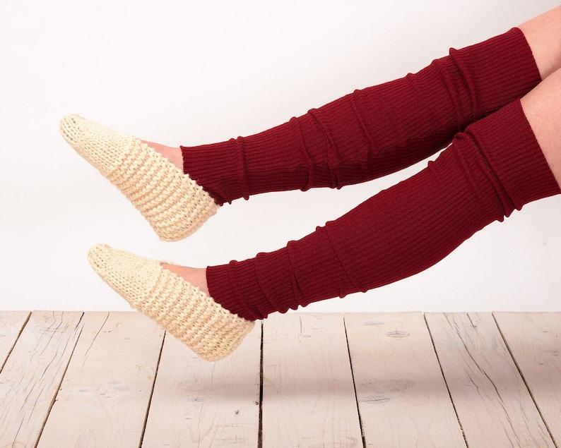 Knit Red Leg Warmers Thigh High Socks Knee Socks Hand made Socks Leg Warmers Boot Socks Knit Knee Socks Knee High Socks