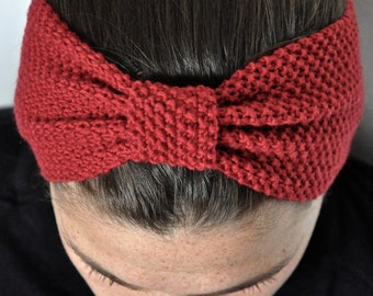 Fine Merino 100% natural for woman or child 10cm red wool headband