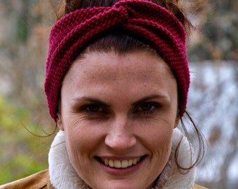 Fine Merino 100% natural for woman or child red bordeaux 10cm wool headband