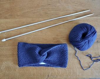 Turban headband fine 100% natural for woman or child cobalt blue Merino Wool