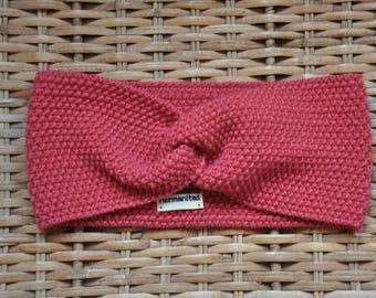 Turban headband fine 100% natural for woman or child coral/salmon Merino Wool