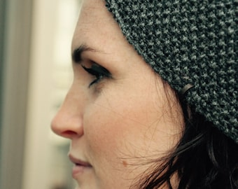 Headband fine Merino 100% natural for woman or child's gray wool anthracite 10cm