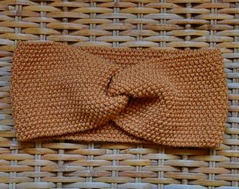 Turban headband fine Merino 100% natural for woman or child Ochre/yellow/straw