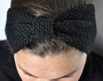 Fine Merino 100% natural for woman or child Black 10cm wool headband