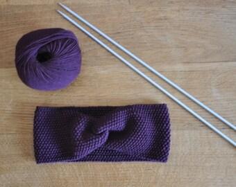 Turban headband fine 100% natural for woman or child plum/Eggplant Merino Wool