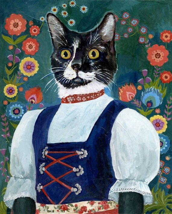 animals in clothes funny gift pet portraits FREE SHIPPING cat art original painting custom pet portrait