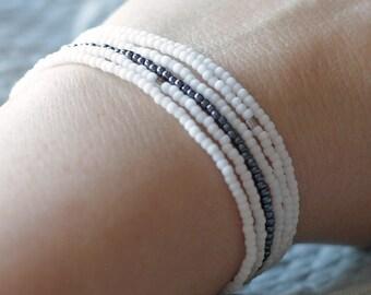 6 white bead bracelets, tiny bead bracelets, layering bracelets, stretchy bracelets, summer bracelets, seed bead bracelet, fun bracelet