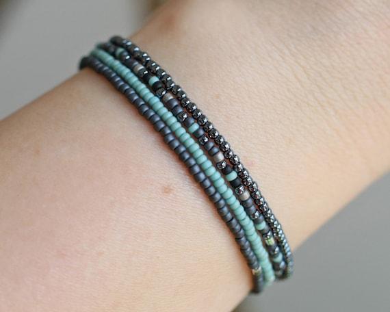 Blue mix beaded bracelet Beaded bracelet layer bracelet
