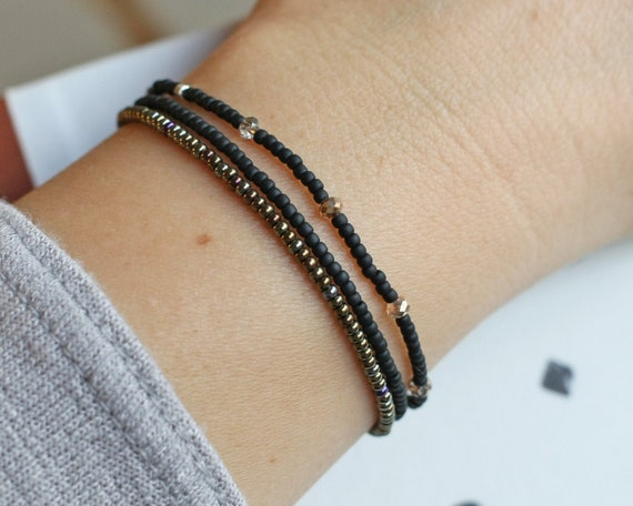 Seed Bead Stretch Bracelet  Black Bead Bracelet  Stackable Bracelets for Women  Beaded Bracelet Set  Gifts Under 20  Gifts for Her