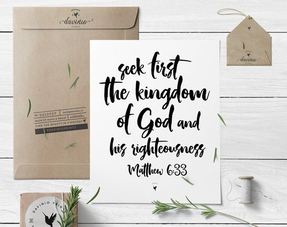 Matthew 6:33 Giclée Art Print | Seek first the kingdom of God and His righteousness | God is Good | Keep Your Eyes On Jesus |  Jesus First