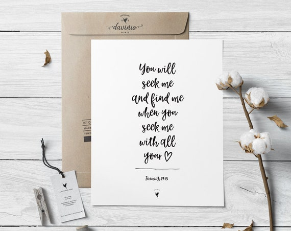 Jeremiah 29:13 Giclée Art Print | You will seek me & find me when you seek me with all your heart | God is Good | Keep Your Eyes On Jesus