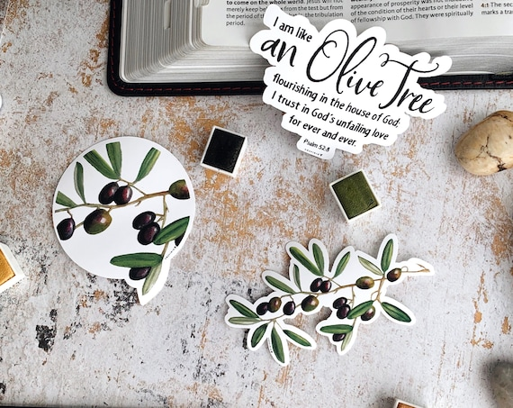 HANDMADE Olive Tree & Psalm 52:8 - Customizable Bundle of 2 or 3 Vinyl Stickers // I am like and Olive Tree flourishing in the house of God