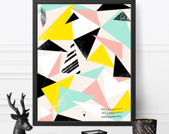 Triangles Modern Geometric Giclée Art Print | Minimalist Poster | Triangles Decor | Dorm Room Decor | Pink, Teal, Yellow, Black & White