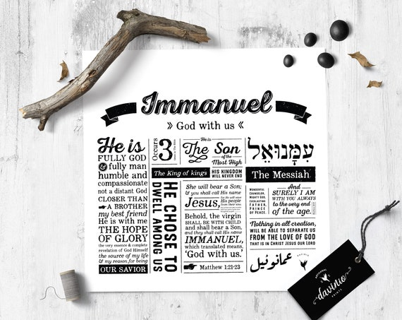 Immanuel Square Giclee Art Print | Names of God Collection | God with Us Isaiah 7:14 The virgin will conceive and give birth to a son