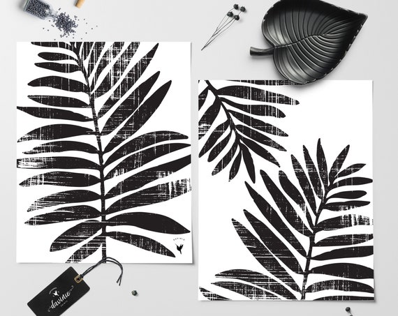 Textured Tropical Palm Leaves | Set of 2 Abstract Giclee Art Prints | Modern Poster | Extreme Minimalism | Black & White
