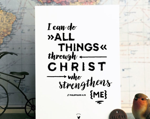 Philippians 4:13 Giclée Art Print | Christian Journal | Scripture art | Wall Art | I can do all things through Christ who strengthens me