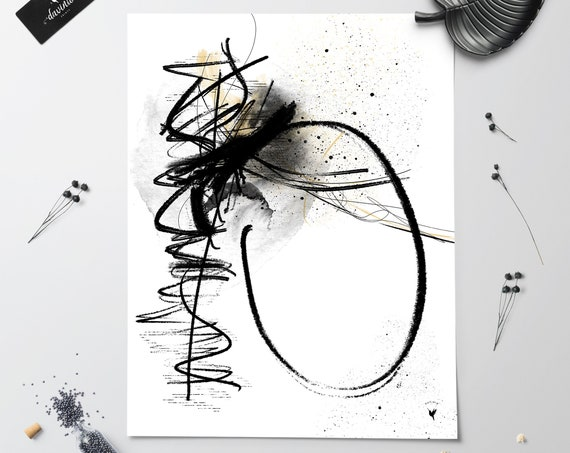 Abstract Motion Giclée Art Print | Black & White Original Artwork Made by hand Ink Painting | Make a powerful contemporary statement