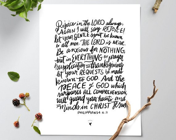 HAND-LETTERED Philippians 4:4-7 Giclée Art Print | Rejoice in the Lord, be anxious for nothing, pray about everything | Perfect Peace of God